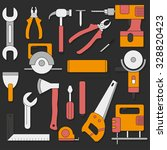 set of hand tools in flat style | Shutterstock .eps vector #328820423