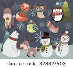 Cute Winter Animals And Snowme...