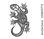 lizard. hand drawn doodle.... | Shutterstock .eps vector #328833773