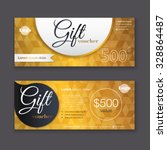 gift voucher template with gold ... | Shutterstock .eps vector #328864487