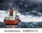 Cargo Ship At Sea During A...