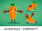 set of carrot characters do... | Shutterstock .eps vector #328896077
