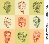 set of nine drawn image with... | Shutterstock .eps vector #328896737
