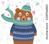 cute bear in winter clothes | Shutterstock .eps vector #328906883