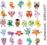set of vector cartoon birds | Shutterstock .eps vector #328911377