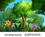 Illustration  Green Forest Wit...