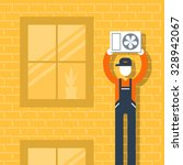 air conditioner installment | Shutterstock .eps vector #328942067