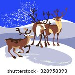 three great wild reindeer are... | Shutterstock .eps vector #328958393