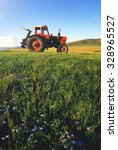 Small photo of Tractor Agriculture Tranquil Remote Suburb Field Concept