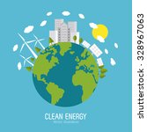 save energy concept with eco... | Shutterstock .eps vector #328967063