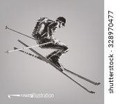freerider is skiing. vector... | Shutterstock .eps vector #328970477