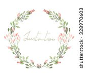 circle frame  wreath of pink... | Shutterstock . vector #328970603