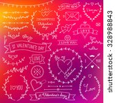 set of cute romantic design... | Shutterstock .eps vector #328988843