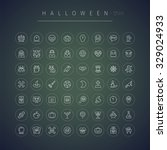 halloween thin rounded icons set | Shutterstock .eps vector #329024933