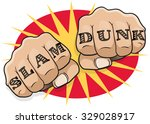 vintage pop art slam dunk... | Shutterstock .eps vector #329028917
