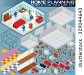 isometric home plan. 3d vector... | Shutterstock .eps vector #329044643