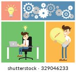 business idea  start up ... | Shutterstock .eps vector #329046233
