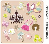 collection of cute stickers for ... | Shutterstock .eps vector #32905837