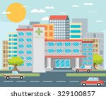 city hospital building in flat... | Shutterstock .eps vector #329100857