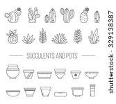 set of succulent plants ... | Shutterstock .eps vector #329138387