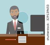 black man man clerk in a bank....   Shutterstock .eps vector #329139653