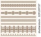 vector set of floral ornamental ... | Shutterstock .eps vector #329139737