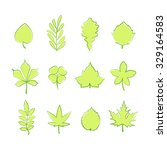 set of green tree leaf icons... | Shutterstock .eps vector #329164583