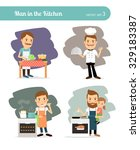 man cooking in kitchen. father... | Shutterstock .eps vector #329183387