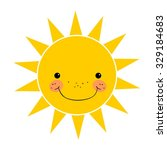 cute smiling sun isolated on...   Shutterstock .eps vector #329184683