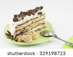Chestnut Cake Slice On A Green...
