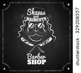 retro barber shop logo on... | Shutterstock .eps vector #329208557
