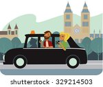 young couple tourists  in taxi... | Shutterstock .eps vector #329214503