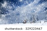 trees covered with hoarfrost... | Shutterstock . vector #329223467
