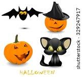halloween  black cat  bat ... | Shutterstock .eps vector #329247917