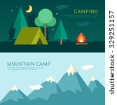 camping and mountain camp.... | Shutterstock .eps vector #329251157