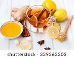 cup of ginger tea with lemon... | Shutterstock . vector #329262203