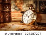vintage antique pocket watch on ... | Shutterstock . vector #329287277