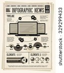retro vintage newspaper with... | Shutterstock .eps vector #329299433