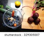a healthy breakfast smootie... | Shutterstock . vector #329305007