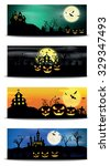 halloween night  vector... | Shutterstock .eps vector #329347493