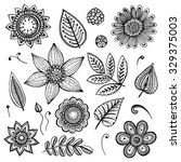 white and black doodle floral... | Shutterstock .eps vector #329375003