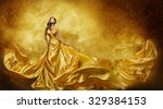 Gold Fashion Model Dress  Woma...