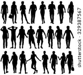 black silhouettes of beautiful... | Shutterstock . vector #329387567