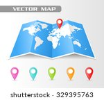 full vector folded map of the... | Shutterstock .eps vector #329395763