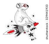 Koala Flying On The Rocket To...