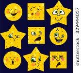 set of 12 modern flat emoticons ... | Shutterstock .eps vector #329444057