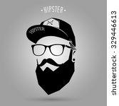 hipster man face with cap on... | Shutterstock .eps vector #329446613