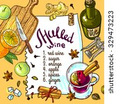 mulled wine set with glass of... | Shutterstock .eps vector #329473223
