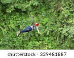 adult woman on zip line... | Shutterstock . vector #329481887
