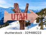 Utah Wooden Sign With Winter...